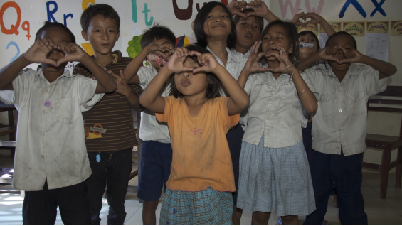 children doing hearts