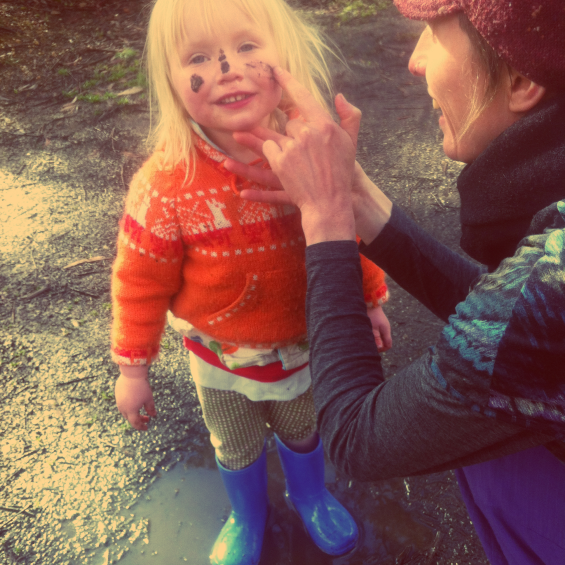 Facepainting with mud