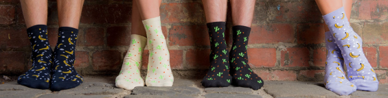 Banana and cactus print socks