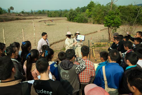 UXO Lecture About Contaminated Rice Paddy Behind