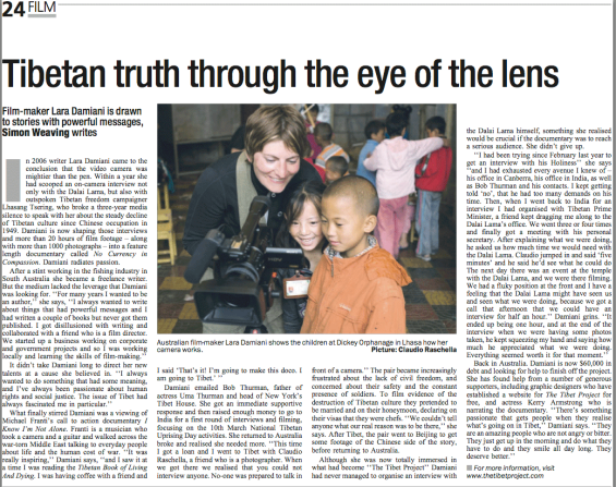 "Newspaper article in ""The Canberra Times"" about Lara's documentary on Tibet"
