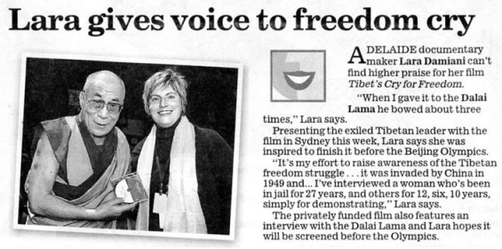 "Article from ""The Advertiser"" about Lara's documentary on Tibet"