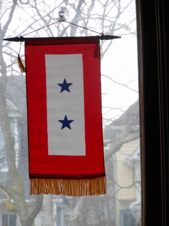 Our family's Double Blue Star Banner hanging in our front window shows the world that our two sons proudly serve in one of the branches of America's armed forces.