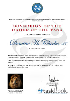 Certificate of the Order of the Task!