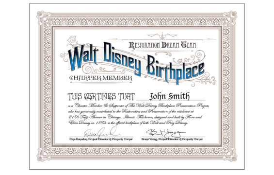Walt Disney Birthplace Dream Team Certificate
