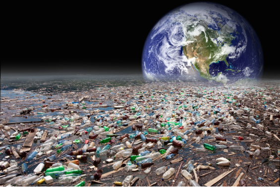 Earthrise over plastic